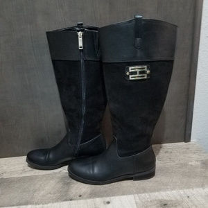 Tommy Hilfiger Black Leather & Suede Boots - 7.5